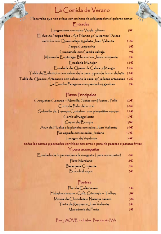 summer menu spanish